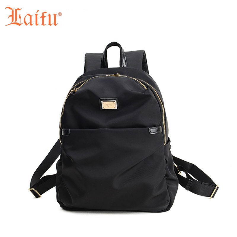 Laifu Brand Design Women Nylon Backpack Ladies Large Capacity Tablet Bag Teenage Girls Schoolbag Waterproof, Black, Purple famous brand laifu design women lightweight nylon bag teenage girls school backpack preppy style shopping travel black coffee page 9 page 7 page 1