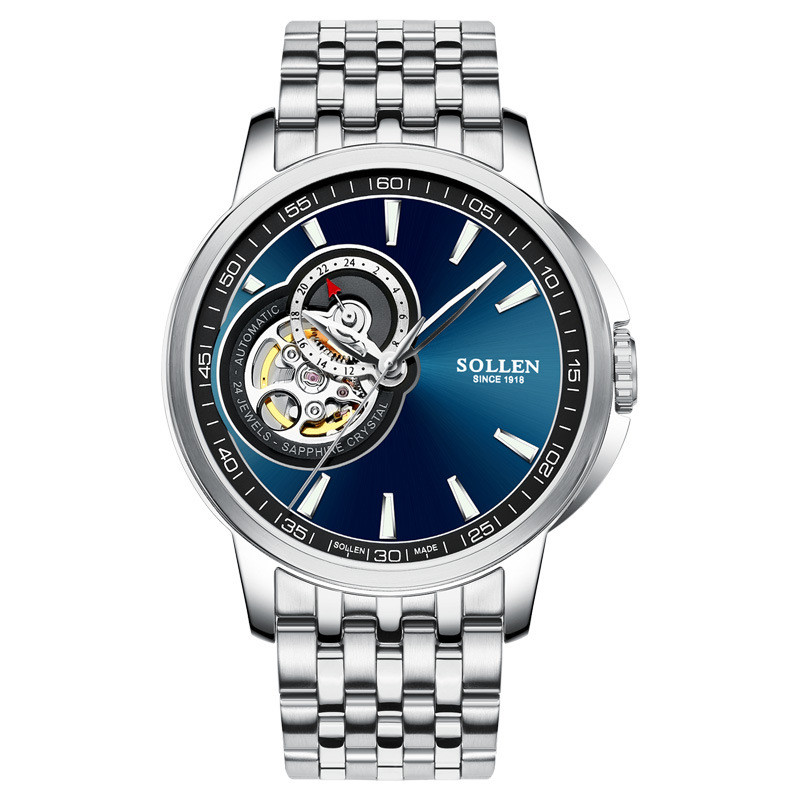 SOLLEN Mens Watches Top Brand Luxury Full Steel Automatic Skeleton Mechanical Men Watch Classic Male Clocks High Quality Watch
