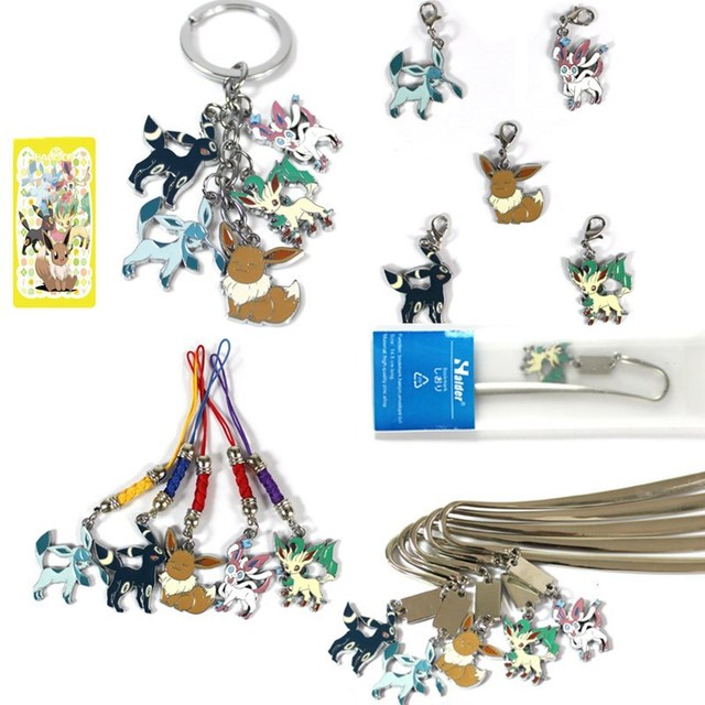 US $6 43 8% OFF|Eevee Nymphia Leafeon Glacia Umbreon Chain Bookmarks Rope  pendant color metal Collectible gifts-in Action & Toy Figures from Toys &