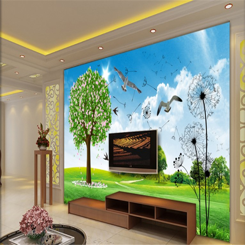 summer outdoors wallpaper. Beibehang Large Custom Wallpaper Fresh Outdoor Scenery Summer Landscape Flowers And Birds, Said TV Wall-in Wallpapers From Home Improvement Outdoors R