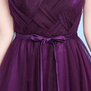 Image 3 - Sexy Purple Floor Length Party Criss cross Tulle Ribbon Women Wedding Elegant Ladies Bridesmaid Dresses Party Dance Dress 9069