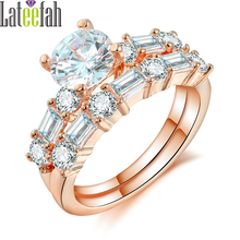 Lateefah Elegant Women Jewelry Rings Set Rose Gold Color Diamonique CZ Female Wedding Ring Set Two Rings in One Anel Bague Femme