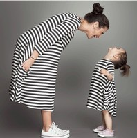 Fashion Mom And Kids Couple Look Stripe Dress Family Matching Outfit Clothes Dress Girls And Mom