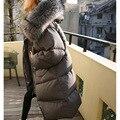 2016 Последние Теплые Большой Енота Меховым Воротником С Капюшоном Зимних Женщин пальто Толстые Теплые Длинные Одеяло Хлеб Хлопок Куртка И Пиджаки горячая продажа