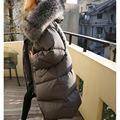 2016 El Último Caliente Grande Cuello de piel de Mapache Con Capucha Invierno de Las Mujeres Edredón de Algodón Pan Caliente Gruesa capa Larga Parka Outwear caliente venta
