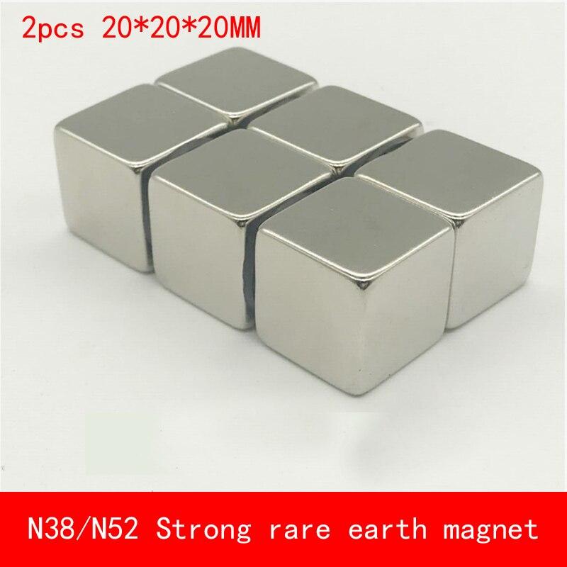 2 STÜCKE cube 20x20x20mm N52 Super Starke Seltenen Erden Permanent Magnet N38 N52 Magneten 20*20*20 MM