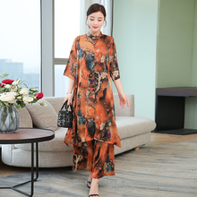 Plus Size Large Big 2 Piece Set Women Clothing Wide Leg Pants and Top Long Co-ord Set Print Floral 2019 Summer Outfit Tracksuit plus floral and geo print wide leg pants