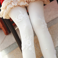 New Arrive Winter Tights Women Handmade Embroider Pearl Pantyhose Ladies Sexy Lace Female Tights Medias De