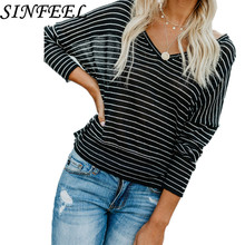 2018 New Spring Autumn Women T-Shirt Black White Striped V-Neck Long Sleeve Work Shirts Women Casual Loose Tees Tops Female