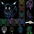 Nuevo Regalo de Navidad Kid Pokemons Go Juego de Anime de Dibujos Animados Del Gato 3D Visual LED Toque de Luz Nocturna Tabla de Estado de Ánimo Oscurecimiento de La Lámpara Atmósfera