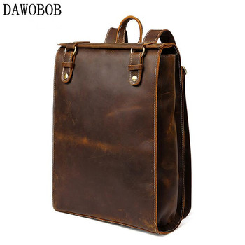 Genuine Leather Backpack For Man Real Cowhide Large Male Backpack Zipper Travel Rucksack Classic Coffee Bag