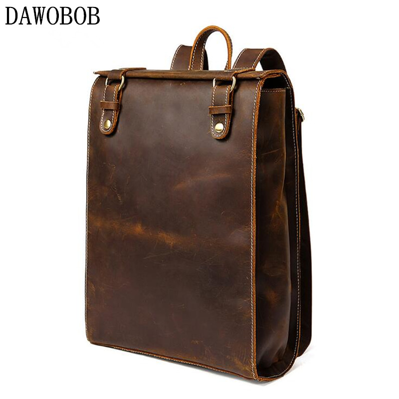 Genuine Leather Backpack For Man Real Cowhide Large Male Backpack Zipper Travel Rucksack Classic Unisex Coffee Bag male classic microfiber leather backpack