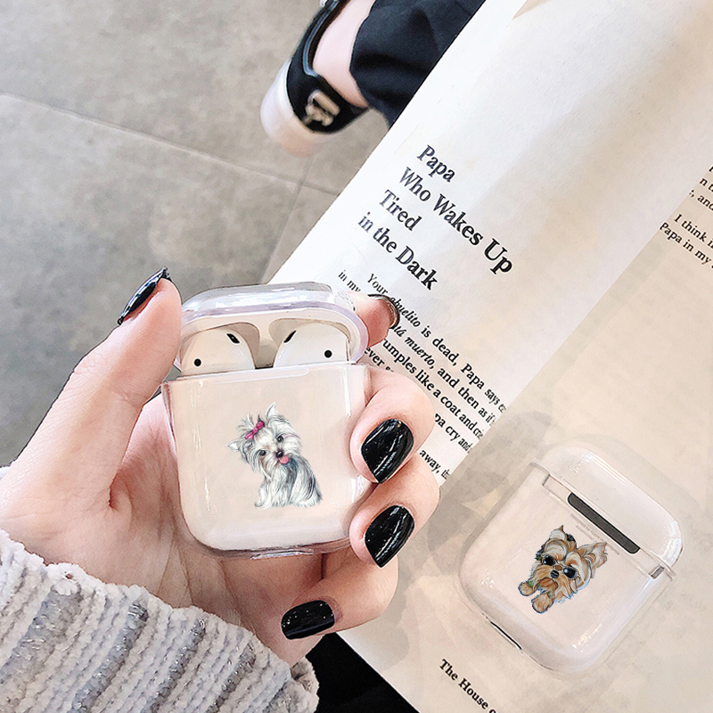 Cute Case For Apple Airpods Case Cartoon Dog Teddy Pug Wireless Bluetooth Earphone Clear Case For Airpods Soft Protective Case