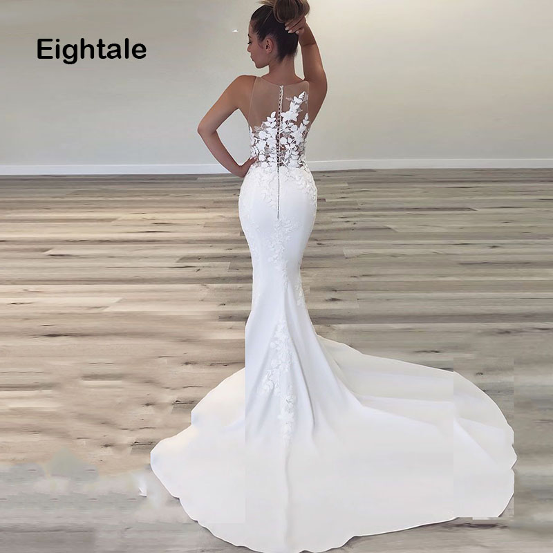 Eightale Sexy Wedding Gown Mermaid Wedding Dresses 2019 O Neck Appliqued Lace With Small Train Boho Bride Dress Free Shipping