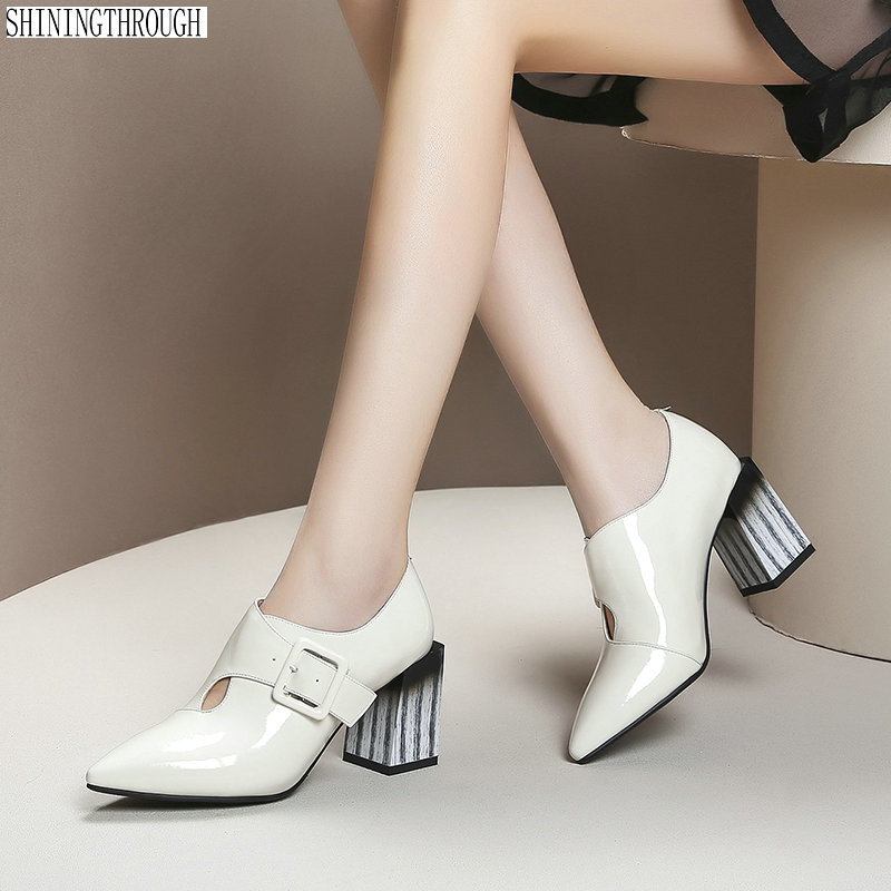 New Women High Heels Autumn Pumps Corss buckle Genuine Leather Prom Party Shoes Woman Basic Office