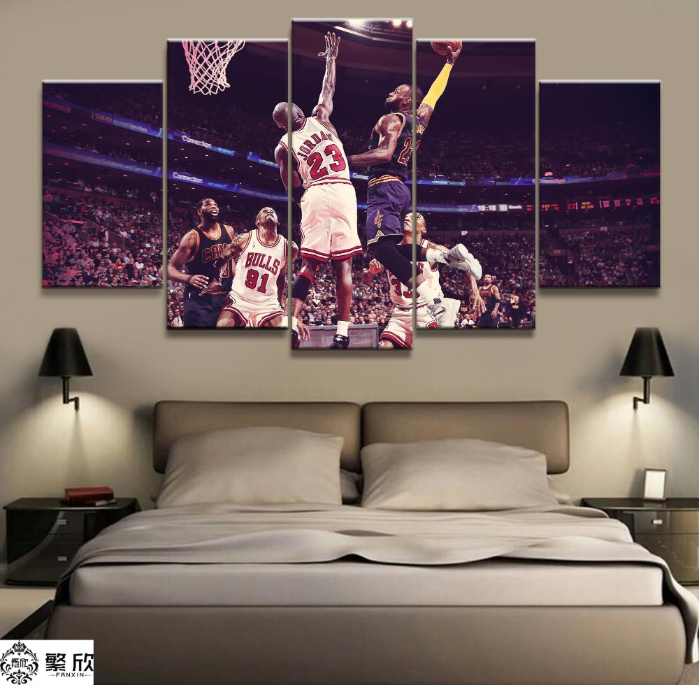 New creative Wall art picture <font><b>5</b></font> pieces canvas paintings NBA James VS <font><b>Jordan</b></font> Basketball star picture printing home decoration image