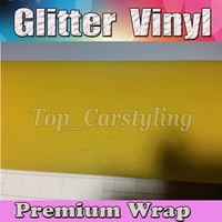 Yellow Glitter Sparkle Vinyl Car Wrap Sticker with Air bubble Free Decal Film CARS LAPTOPS FURNITURE 1.52x30m/Roll 5x98ft