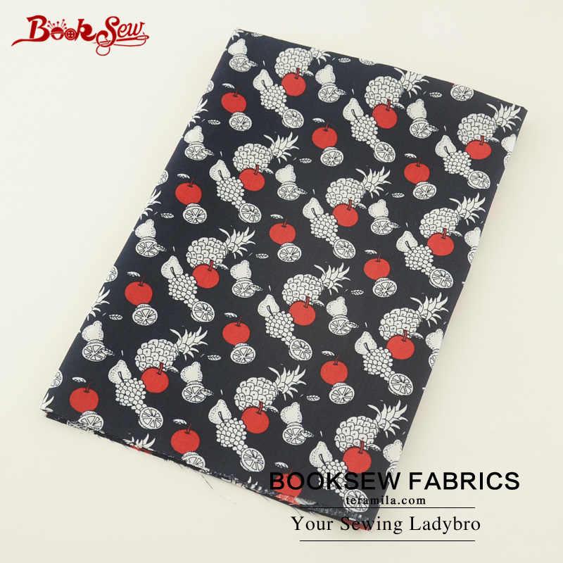 Booksew 100% хлопок Поплин Ткань фруктовый узор ткани Tecido черный мягкий лоскутное домашний текстиль для платье пошив одежды Tildas