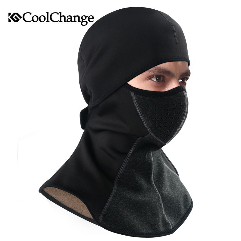 CoolChange Winter Cycling Cap Fleece Thermal Keep Warm Windproof Face Mask Bicycle Skiing Hat Cold Headwear Bike Face Mask Scarf