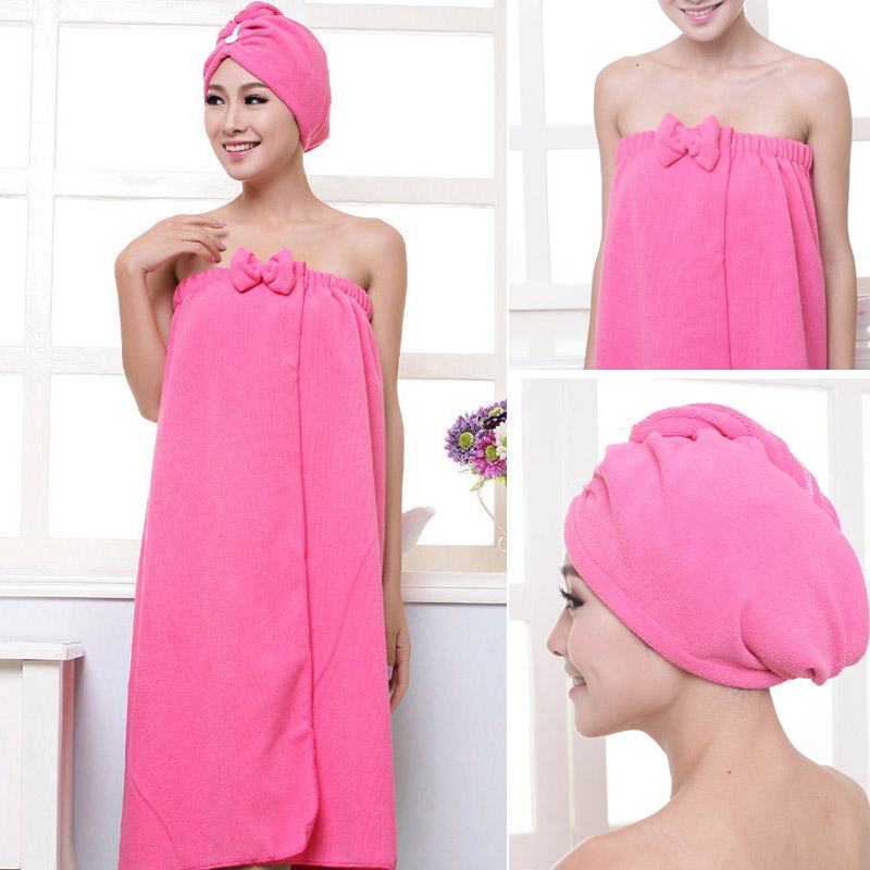 1set Towelling Bathrobe Bathroom Soft Polyester Miraculous Absorbent Towel Beach Towels For Women Quick- Dry Bath Towel Lol