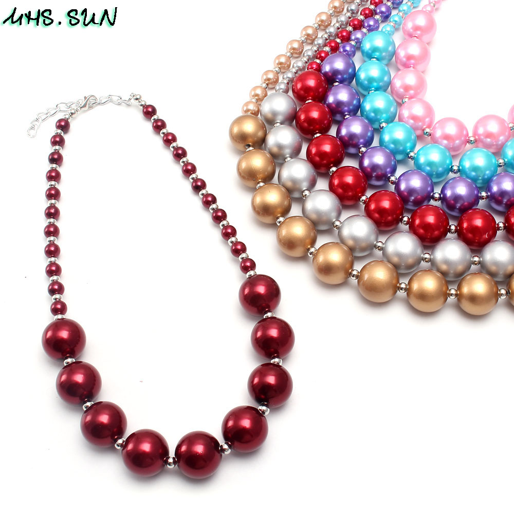 BN541-1 (1),$2.2,60g.Kids girls chunky beads necklace pearl chunky bubblegum necklace JPG