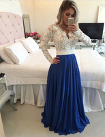 2016 New Design Charming Long A Line Royal Blue Chiffon White Lace Top Evening Dresses Long