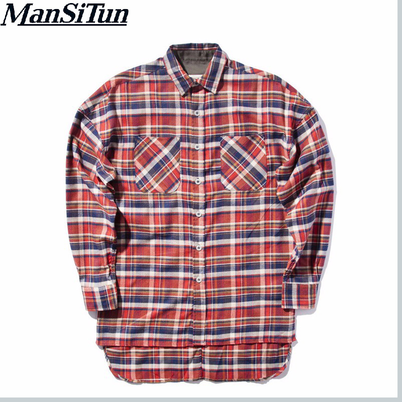 54ab32fe6bc01 رجل سي تون جديد جاستن بيبر الخوف الله الفانيلا اسكتلندا شبكة الرجال قميص  طويل كم قميص hiphop تمديد منحني هيم المتضخم