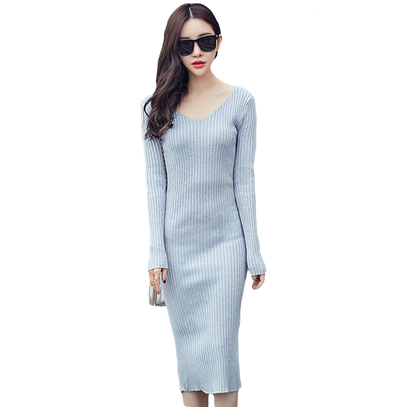 2017 New Spring And Autumn V-Neck Women Long Knitted Dresses Solid Color Slim Sexy Bodycon Package Hip Sweater Dress YP0142 free shipping 2017 new fashion long spring and summer bell bottom jeans boot cut women slim long trousers lacing up flare pants