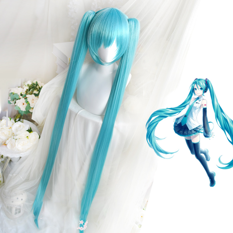 High Quality VOCALOID Cosplay <font><b>Wig</b></font> Hatsune Miku Costume Play <font><b>Wigs</b></font> Halloween party Anime Game Hair <font><b>150cm</b></font> Aquamarine <font><b>wig</b></font>+<font><b>wig</b></font> Cap image