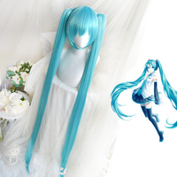 High Quality VOCALOID Cosplay Wig Hatsune Miku Costume Play Wigs Halloween party Anime Game Hair 150cm Aquamarine wig+wig Cap