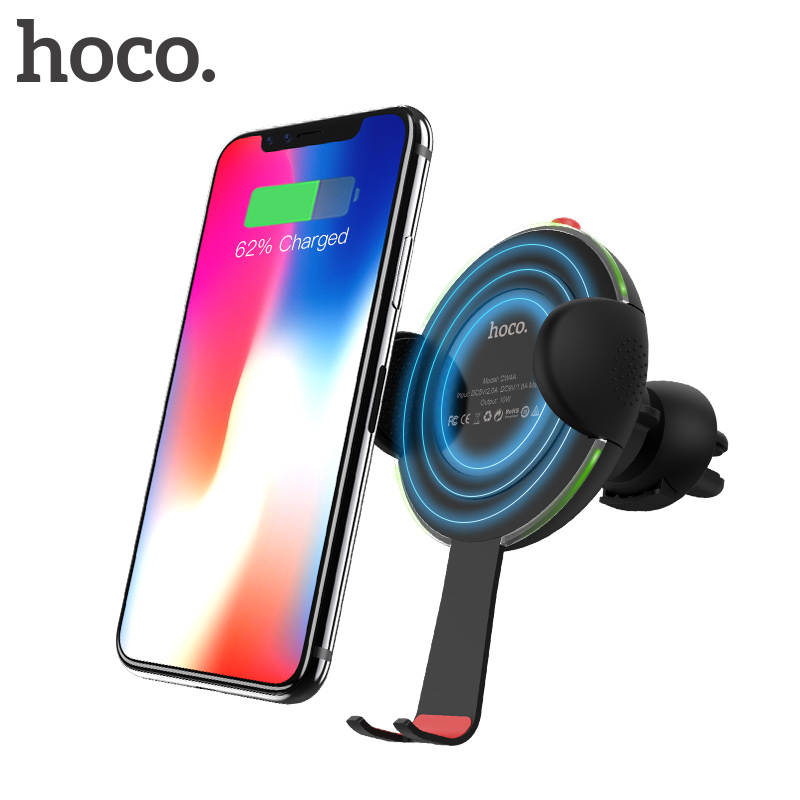 HOCO New 10W Car Qi Wireless Charger Fast Charging for iPhone X 7 8 Plus Phone Holder Air Vent Mount Stand for Samsung Galaxy S8