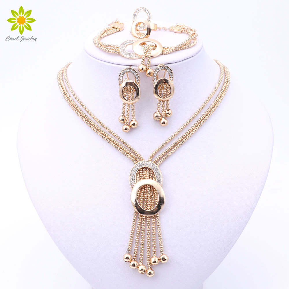 Women Bridal Fine Crystal African Beads Jewelry Sets For Wedding Party Dress Accessories Set Earrings Pendants Necklace Rings(China)