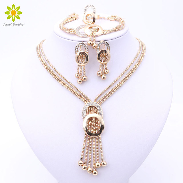 Women Bridal Fine Crystal African Beads Jewelry Sets For Wedding Party Dress Acc