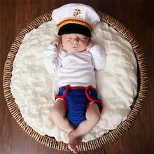 дети вязаный костюм новорожденный ребенок шляпа фотографии аксессуары составляют платье костюмы Морской корпус улыбка уникальный костюм игры