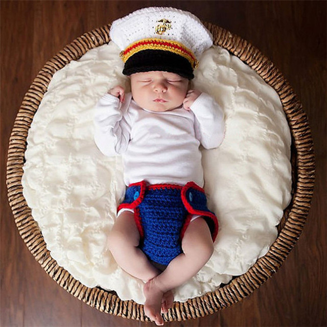 Newborn Baby Photography Accessories Make Up Suits Marine Corp Smilitary  Unique Christmas Party Cosplay Costume For