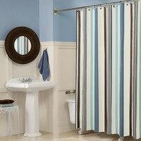 Wliarleo 블루 스트라이프 샤워 커튼 폴리 에스터 방수 패브릭 샤워 커튼 친환경 욕실 3d rideaux de douche