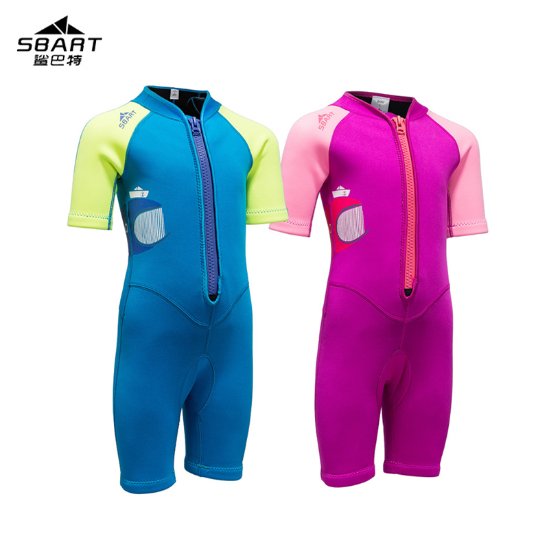 Sbart new 2mm neoprene diving suit, girls swimsuit, Siamese short sleeved swimsuit boy swimming, surfing, snorkeling, sunscreen sbart 303