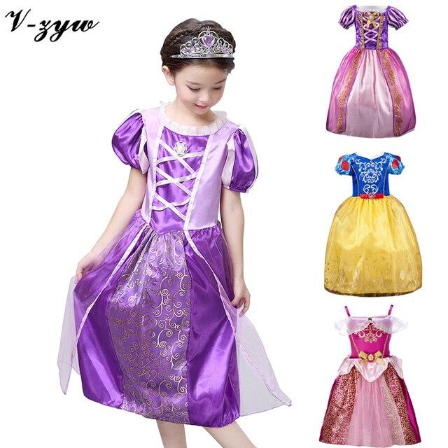Девушка платье принцессы эльза карнавальные костюмы для девочек ребенок deguisement новый год платье для девочки ну вечеринку платьев платье младенческой платье для девочки