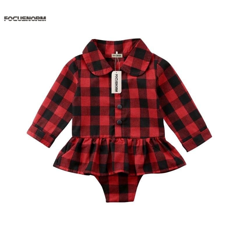 Новорожденных для маленьких девочек плед хлопковый комбинезон платье топы; Одежда 0-24 м для маленьких девочек в полоску с длинными рукавами ...