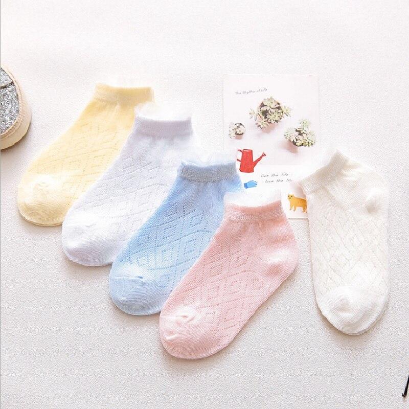 0-12Years Children Socks Summer Mesh Breathable Baby Boys Sport Sock 5pairs/Lot Stripe Cotton Girls Ankle Hose Anklets Kids Sox 2