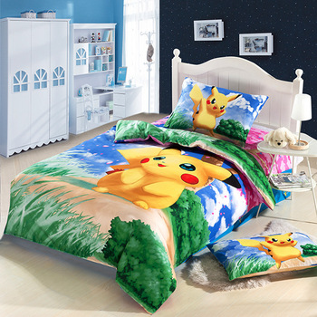 New high quality home children bedding set of Pokemon, clever pikachu, 2 pillow case, 1 bed sheet and 1 duvet cover