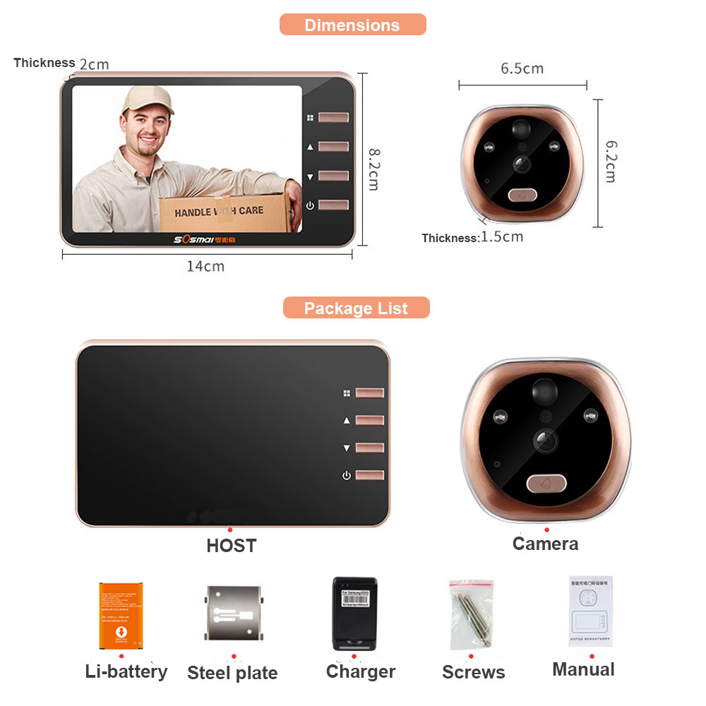 Image 5 - Topvico 4.3 Inch Motion Detection Video Camera Door Peephole Doorbell Electronic Ring Video eye Viewer Auto Photo Video Record-in Doorbell from Security & Protection