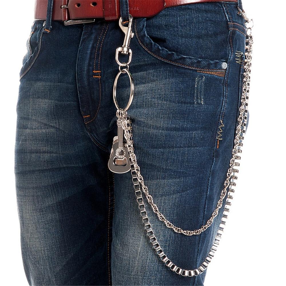 Biker Wallet Chains Cross Bicycle Key Chain Belt Rock Punk Guitar Charm Motorcyle HipHop Pant Jean Chain Men Jewelry 2018