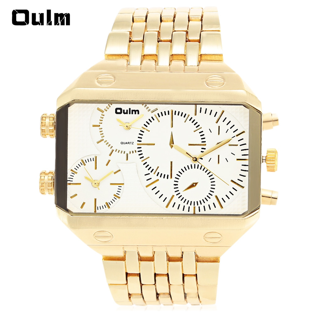 Oulm 3285 Men 3-Movt Quartz Watch with Stainless Steel Band Wrstwatch