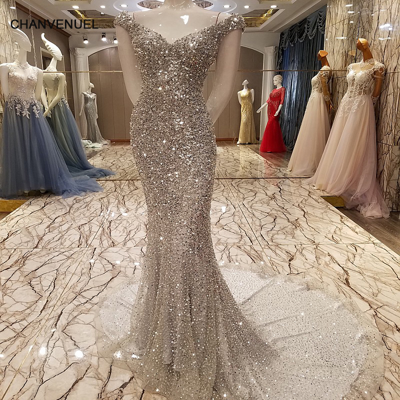 ls7329 luxury mermaid evening dress sexy bling sequins crystals long party dress robe de soiree
