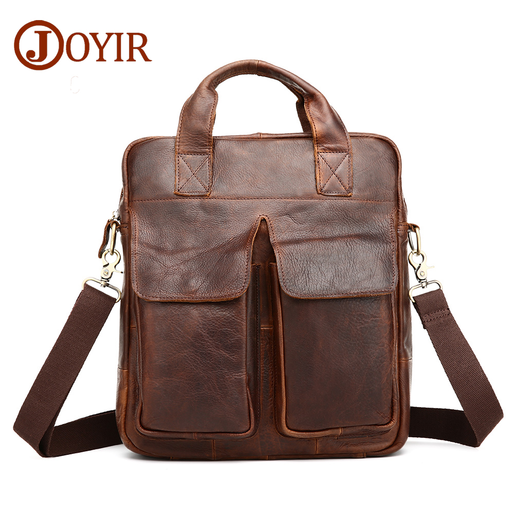 JOYIR Genuine Leather Men Bag men's Briefcase Fashion cowhide Men's Messenger Bags Tote Shoulder crossbody bags Handbags 0372 genuine leather fashion women handbags bucket tote crossbody bags embossing flowers cowhide lady messenger shoulder bags