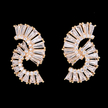 SisCathy 2019 New Fashion Jewelry Big Statement Women Earrings Trendy Cubic Zirconia Silverm Gold