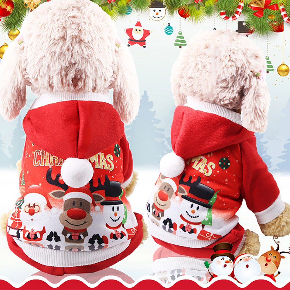 New Christmas Pet Puppy Hoodied Sweatshirts Dog Clothes Costume For Chihuahua French Bulldog #ne918