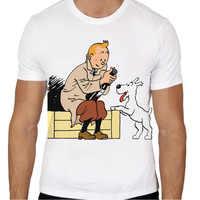 Tintin T-shirt men summer t-shirt boy print tshirt anime t shirt brand clothing white color tops tees TMM475