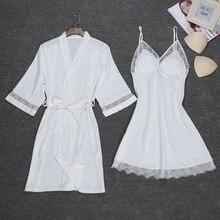 Sexy femmes Robe de nuit sangle haut pyjamas costume été deux ensembles de vêtements de nuit Piec décontracté maison porter des vêtements de nuit sommeil Kimono Robe de bain